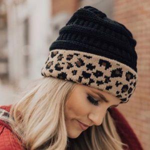 Black and leopard print beanie